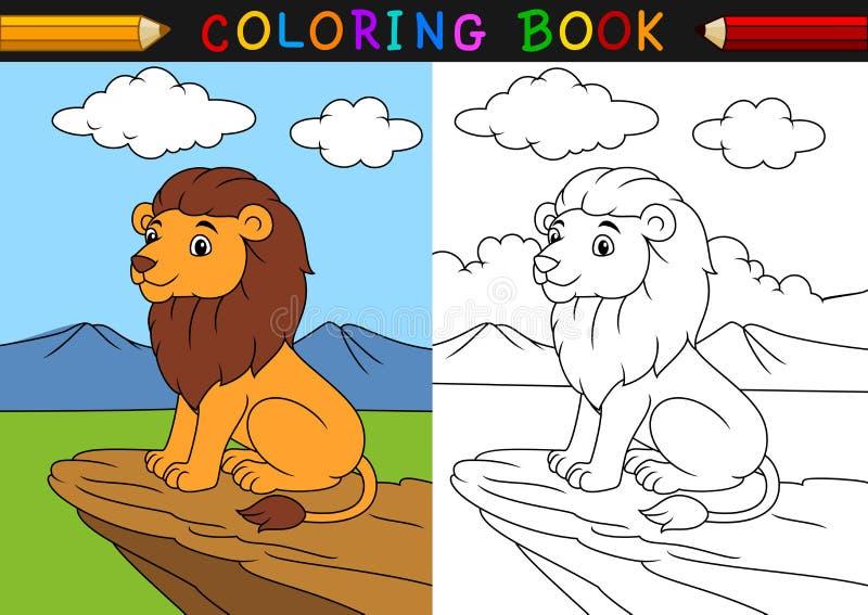 Livre de coloriage de lion de bande dessinée illustration de vecteur