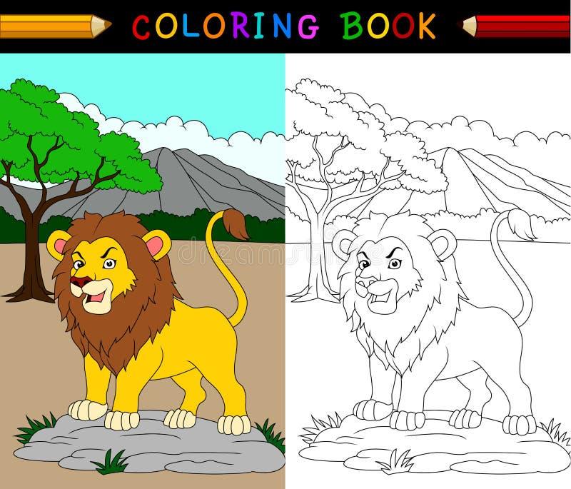 Livre de coloriage de lion de bande dessinée illustration stock