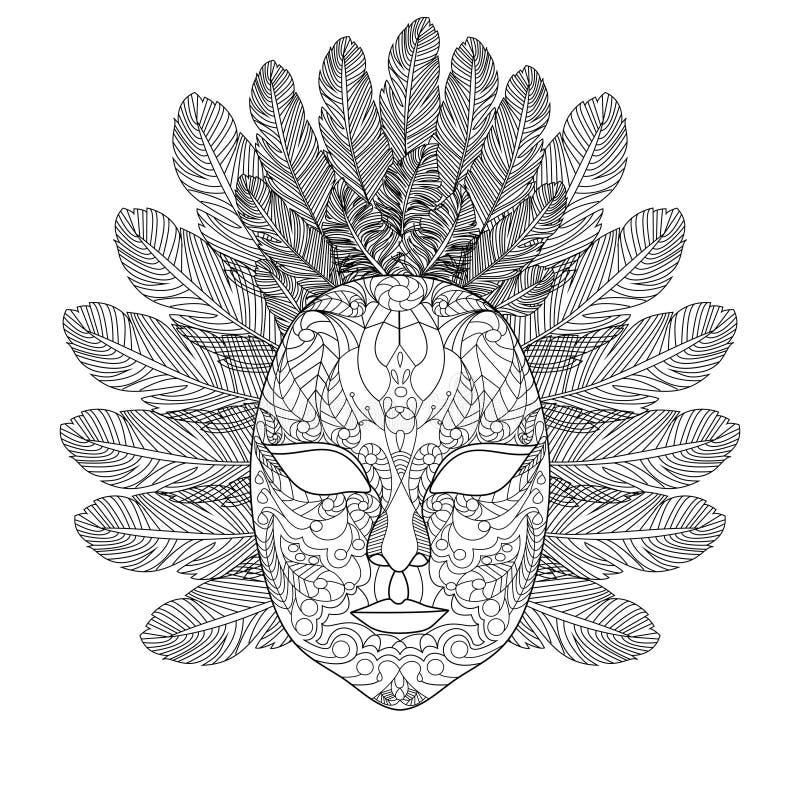 Livre de coloriage de masque de carnaval pour le vecteur d 39 adultes illustration de vecteur - Coloriage masque de carnaval ...