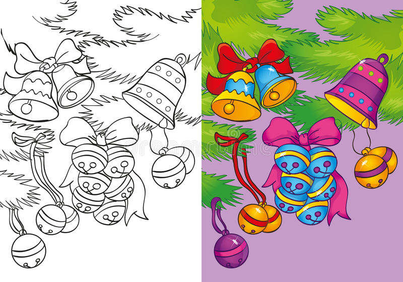Livre de coloriage de Noël Bells sur la branche illustration libre de droits