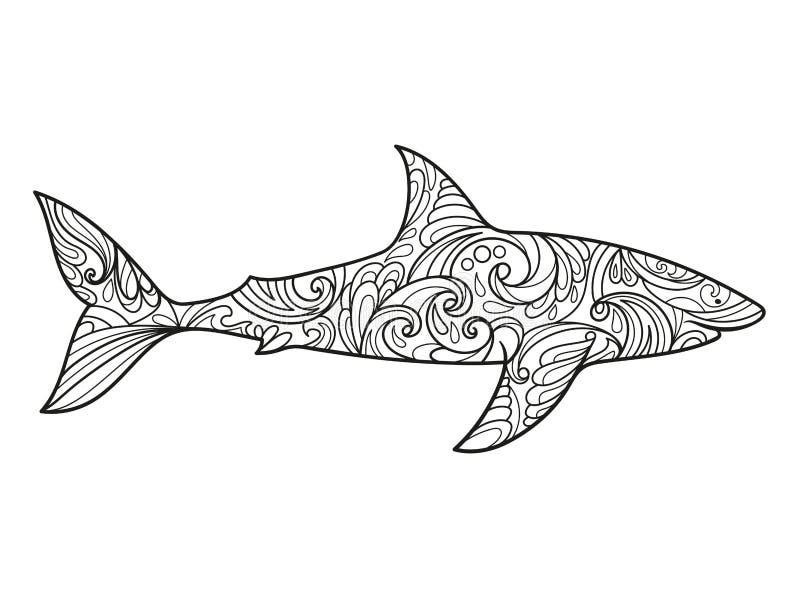Livre de coloriage de requin pour le vecteur d 39 adultes illustration de vecteur illustration du - Modele dessin requin ...