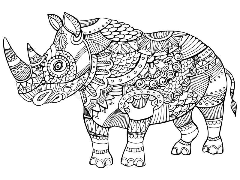 Coloriage En Ligne Rhinoceros.Livre De Coloriage De Rhinoceros Pour Le Vecteur D Adultes