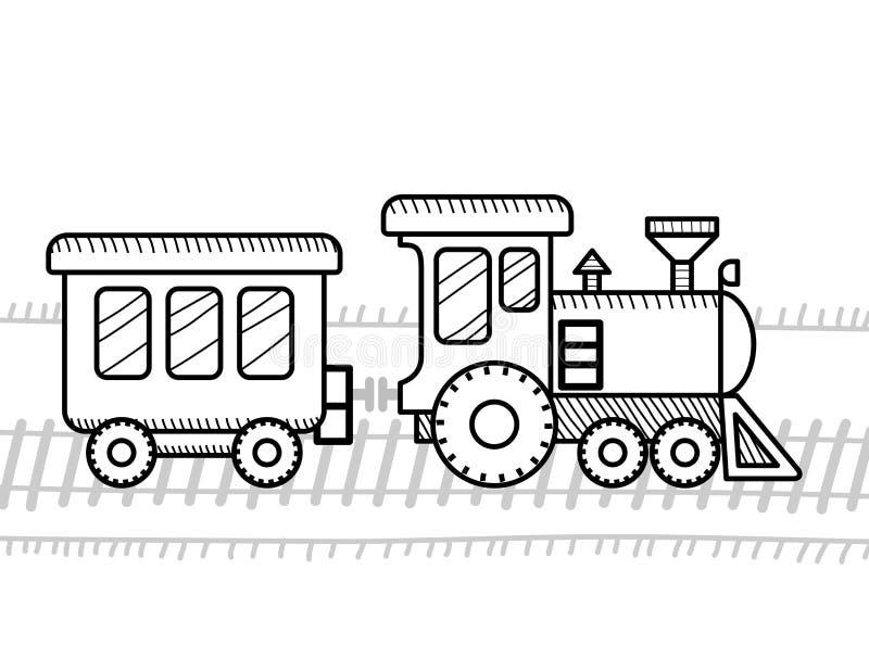 Livre de coloriage de train pour des enfants illustration stock