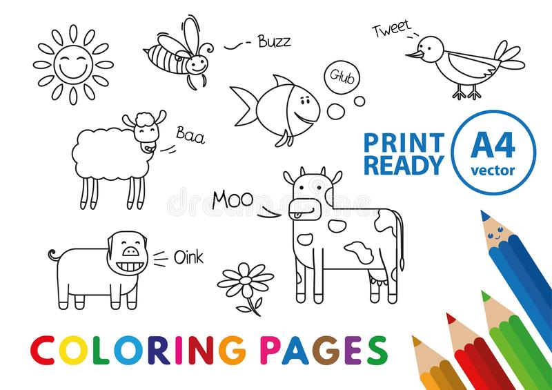 Livre de coloriage drôle d'animaux illustration stock