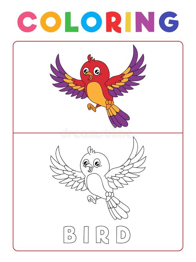 Livre de coloriage drôle d'oiseau avec l'exemple Fiche de travail préscolaire pour pratiquer la compétence fine de reconnaissance illustration de vecteur