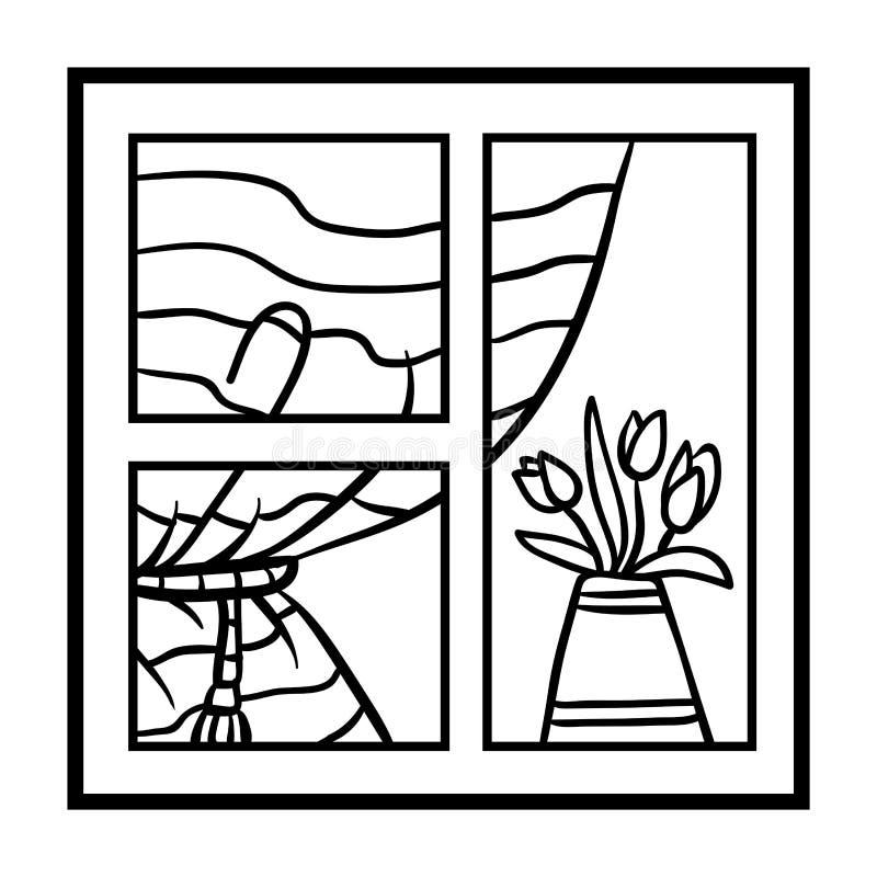 Livre De Coloriage Fenetre Avec Des Rideaux Et Fleurs Illustration De Vecteur Illustration Du Avec Rideaux 125180070