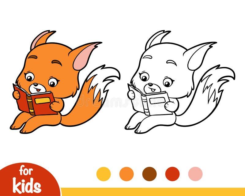 Livre de coloriage, Fox avec un livre illustration libre de droits