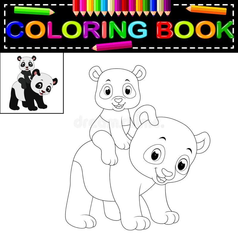 Livre de coloriage heureux mignon de panda illustration de vecteur