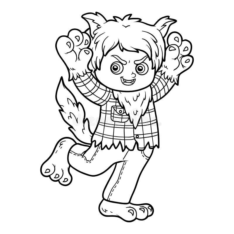 Livre de coloriage, loup-garou illustration stock