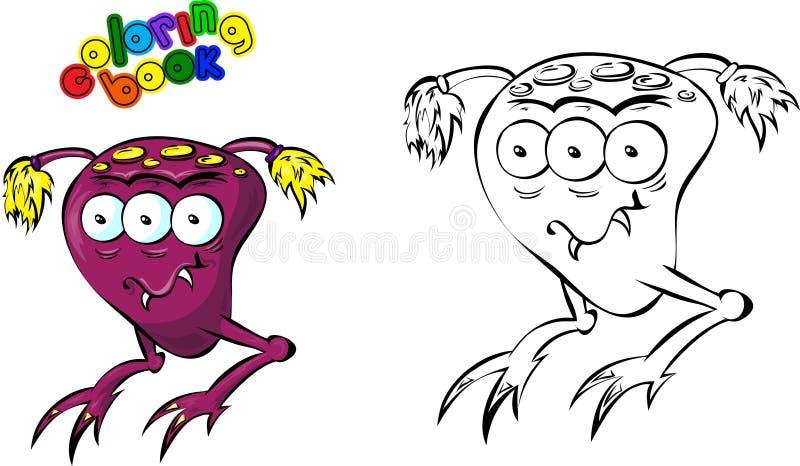 Livre de coloriage (monstre de l'espace) illustration de vecteur