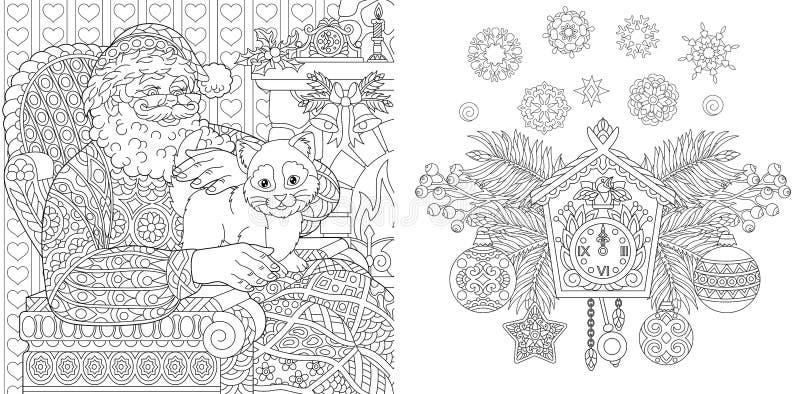Livre de coloriage de Noël Pages de coloration de Noël Santa Claus avec un chat dans le style de cru Fond d'an neuf Ornements de  illustration libre de droits