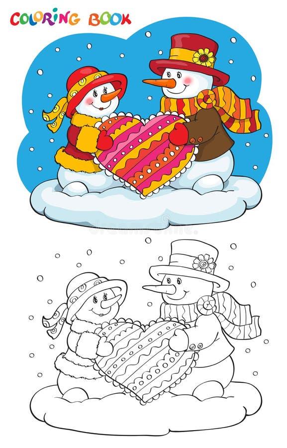 Livre de coloriage ou page Deux bonhommes de neige avec le coeur illustration libre de droits