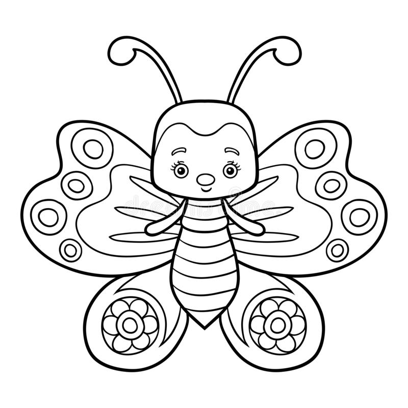 Livre de coloriage, papillon illustration stock