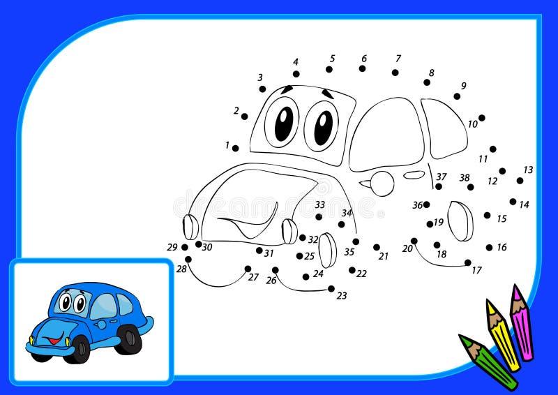 Livre de coloriage. Point pour pointiller la voiture illustration stock