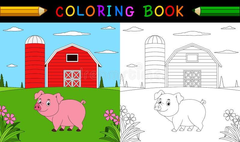 Livre de coloriage de porc de bande dessinée illustration stock