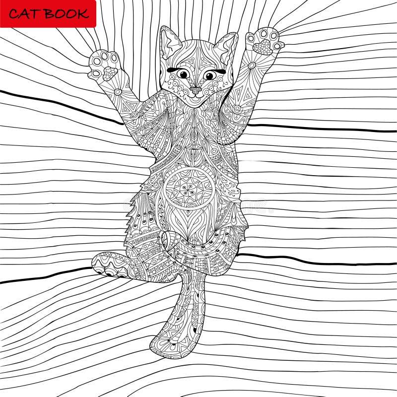 Livre de coloriage pour des adultes - livre de chat de zentangle, stylo d'encre, fond noir et blanc, modèle complexe, gribouillan illustration de vecteur