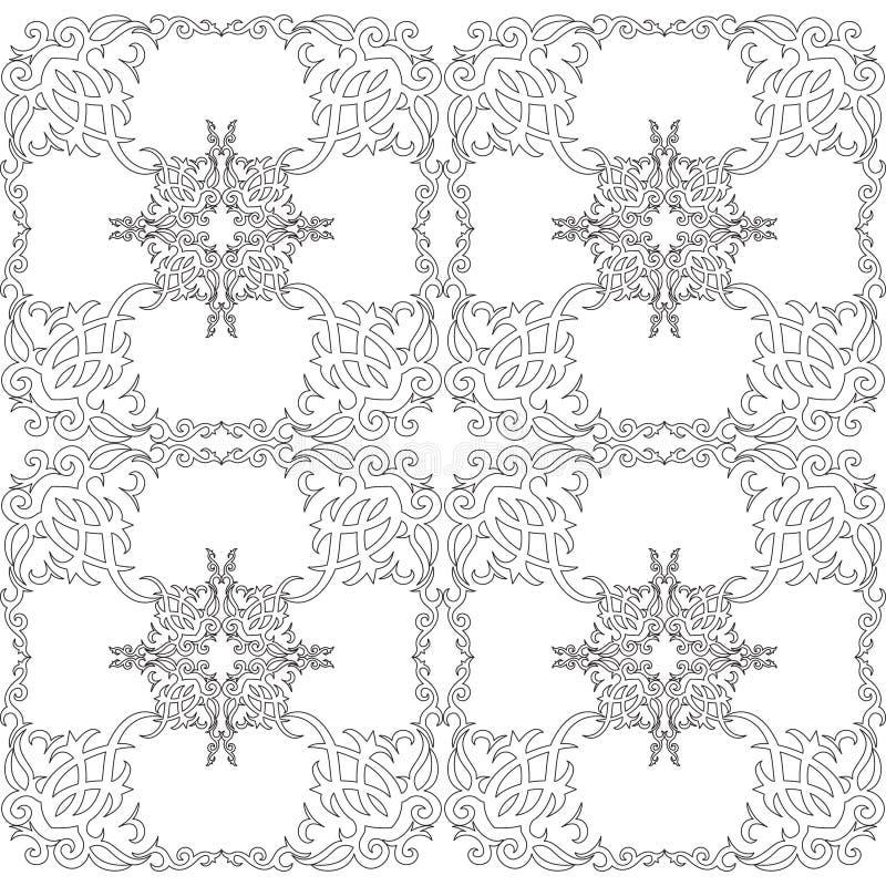 Livre de coloriage pour des adultes, modèle floral noir et blanc illustration stock