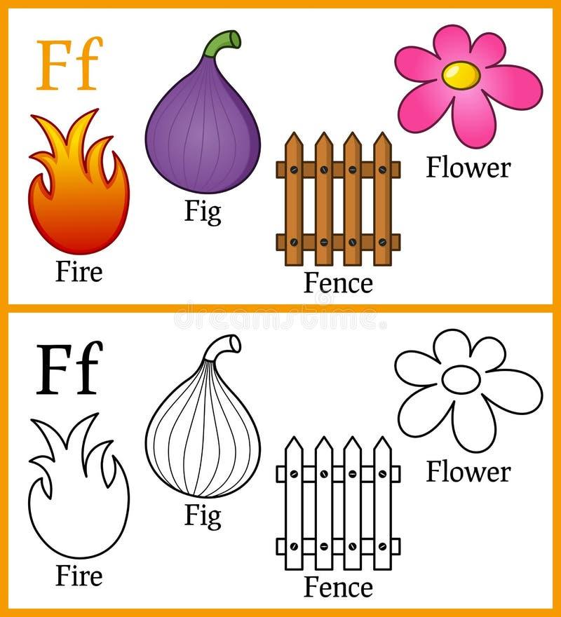Livre de coloriage pour des enfants - alphabet F illustration libre de droits