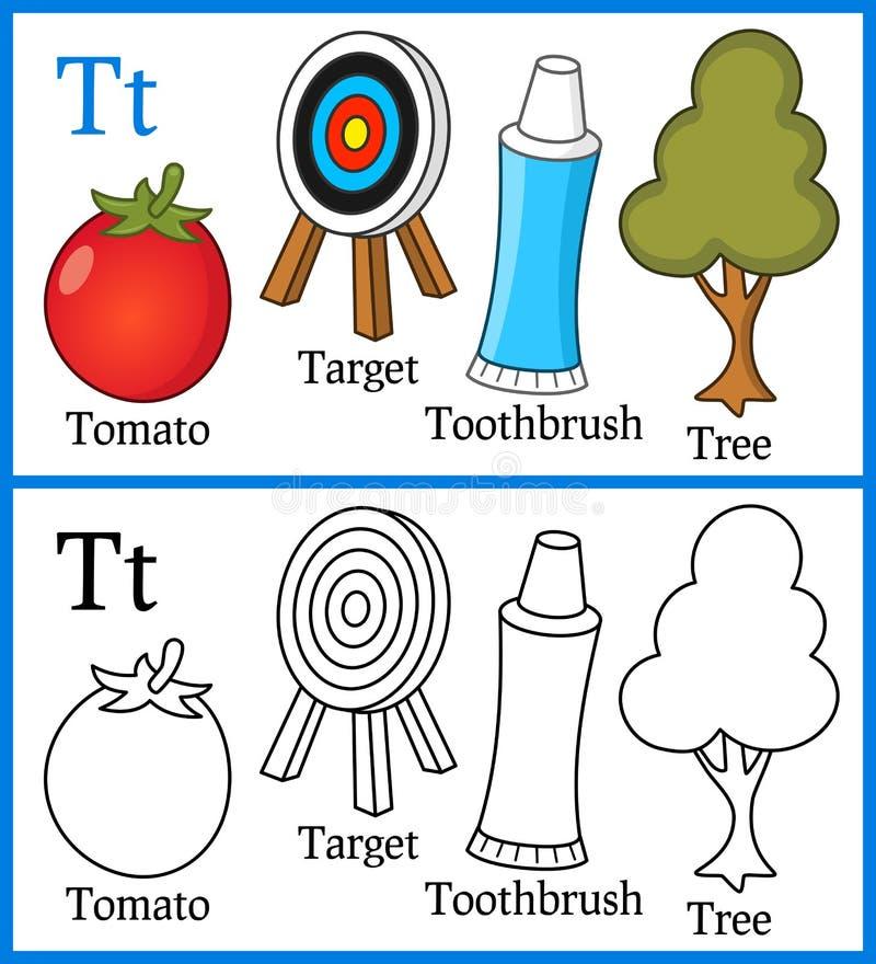 Livre de coloriage pour des enfants - alphabet T illustration stock