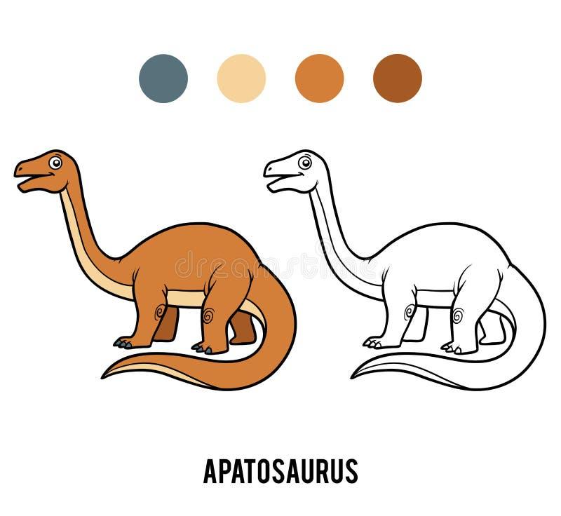 Livre de coloriage pour des enfants, Apatosaurus de bande dessinée illustration stock