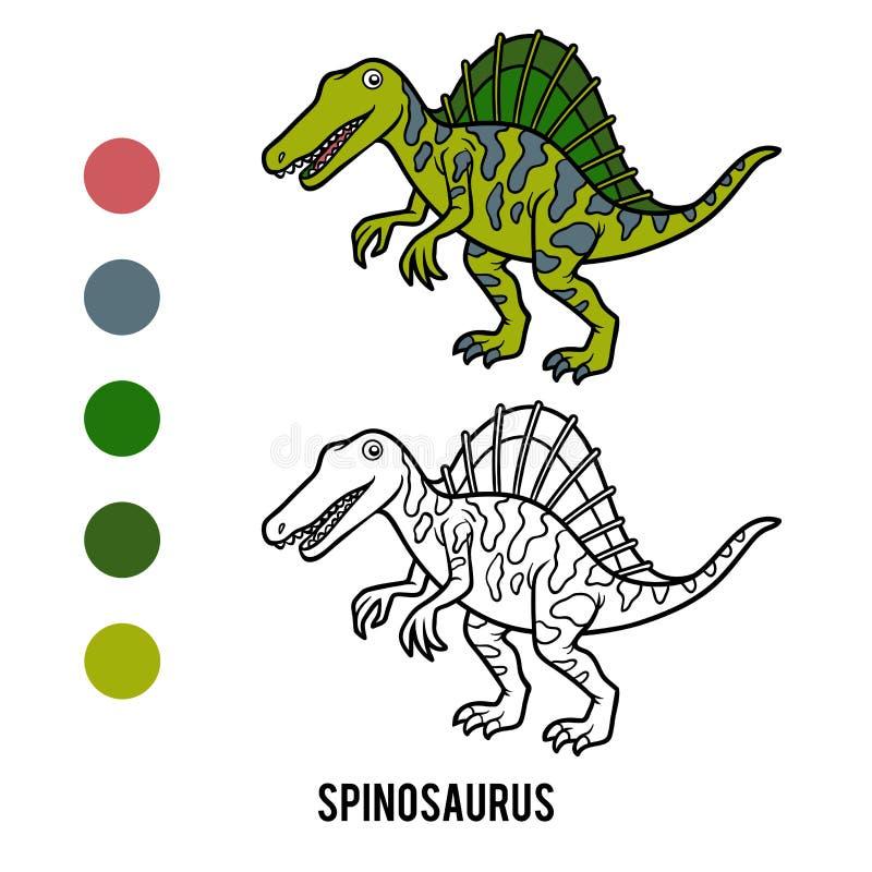 Livre de coloriage pour des enfants, bande dessinée Spinosaurus illustration libre de droits