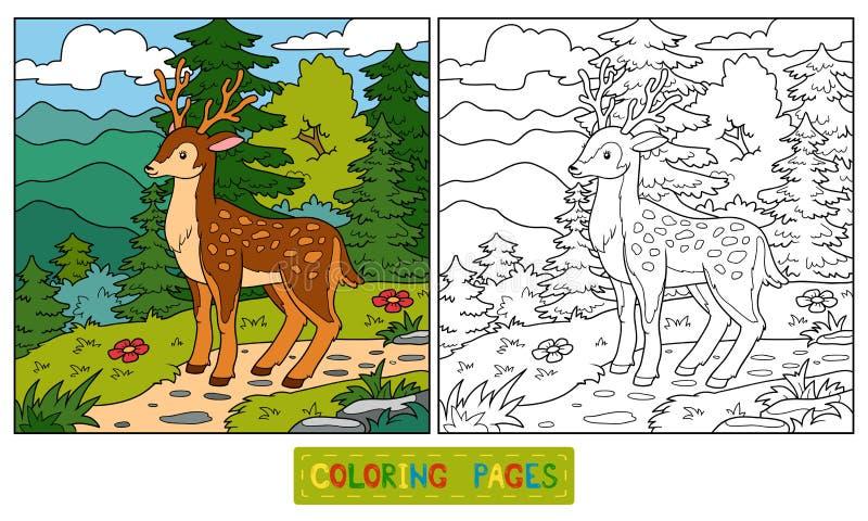 Livre de coloriage pour des enfants (cerfs communs et fond) illustration de vecteur