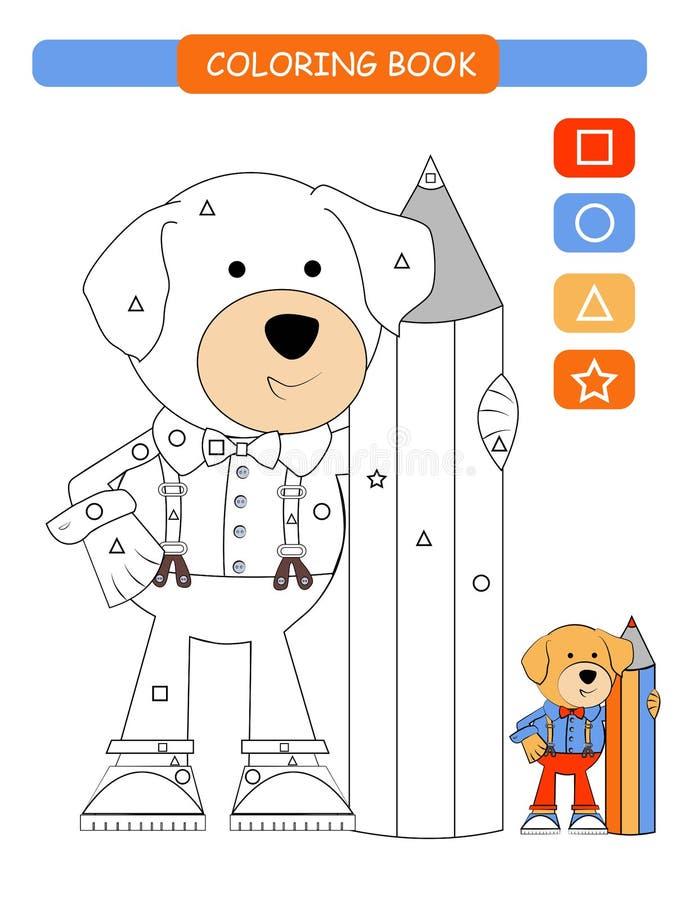 Livre de coloriage pour des enfants Chien mignon noir et blanc de bande dessinée Illustration de vecteur illustration libre de droits