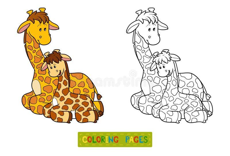 Livre de coloriage pour des enfants (deux girafes) illustration libre de droits