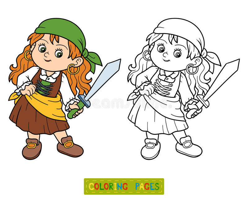 Livre de coloriage pour des enfants fille de pirate illustration de vecteur illustration du - Coloriage fille pirate ...