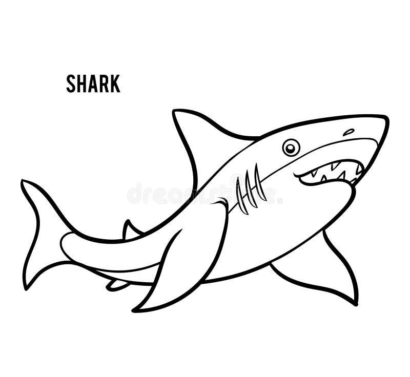 Livre de coloriage pour des enfants, requin illustration libre de droits