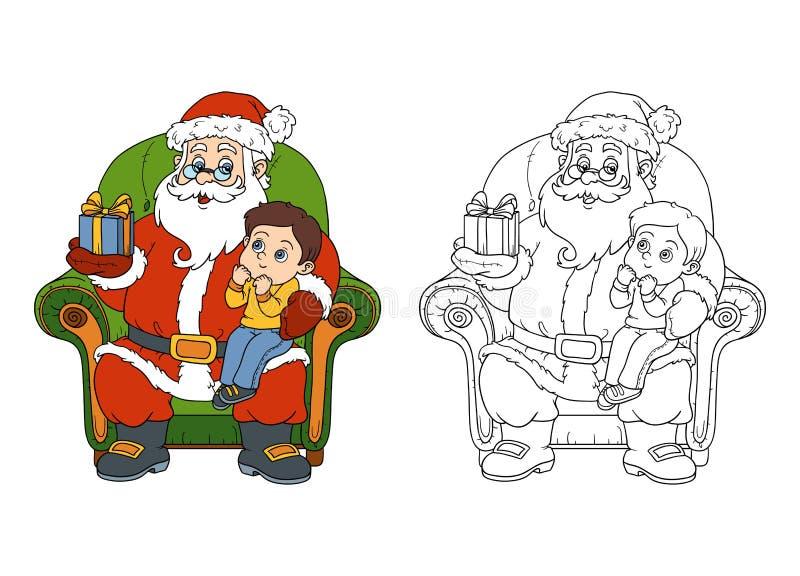 Livre de coloriage pour des enfants : Santa Claus donne à un cadeau un petit garçon illustration de vecteur
