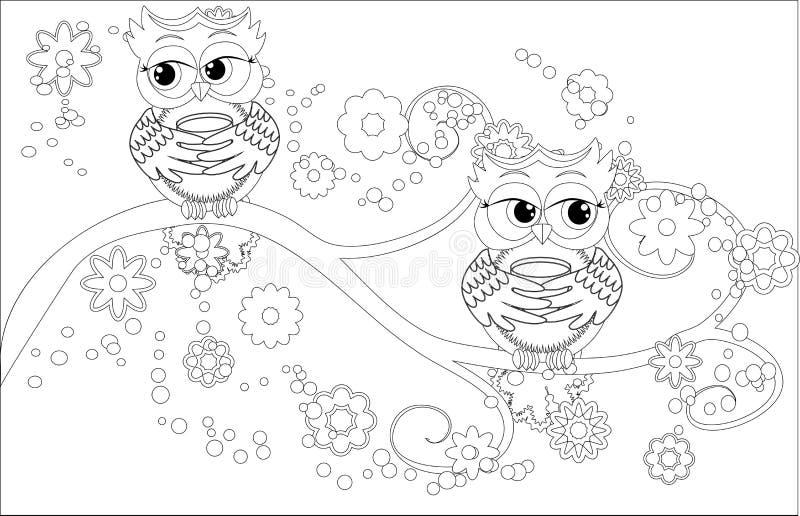Livre de coloriage pour les enfants adultes et plus âgés Page de coloration avec le hibou mignon et le cadre floral illustration de vecteur