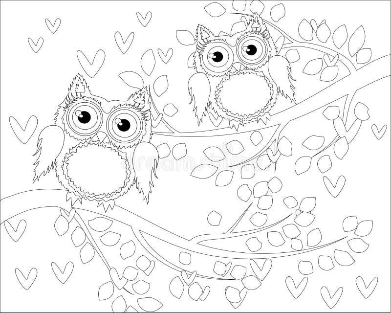 Livre de coloriage pour les enfants adultes et plus âgés Page de coloration avec le hibou mignon et le cadre floral illustration stock