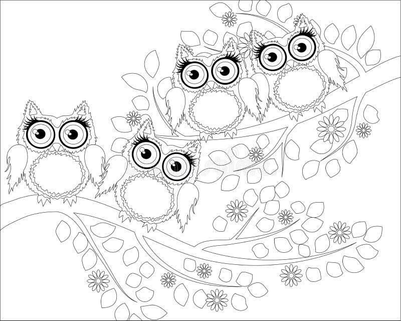 Livre de coloriage pour les enfants adultes et plus âgés Page de coloration avec le hibou mignon et le cadre floral illustration libre de droits