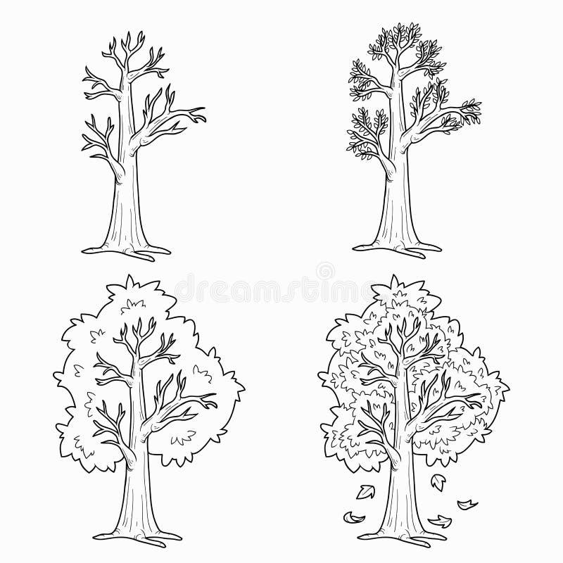 Livre de coloriage (quatre saisons) illustration stock