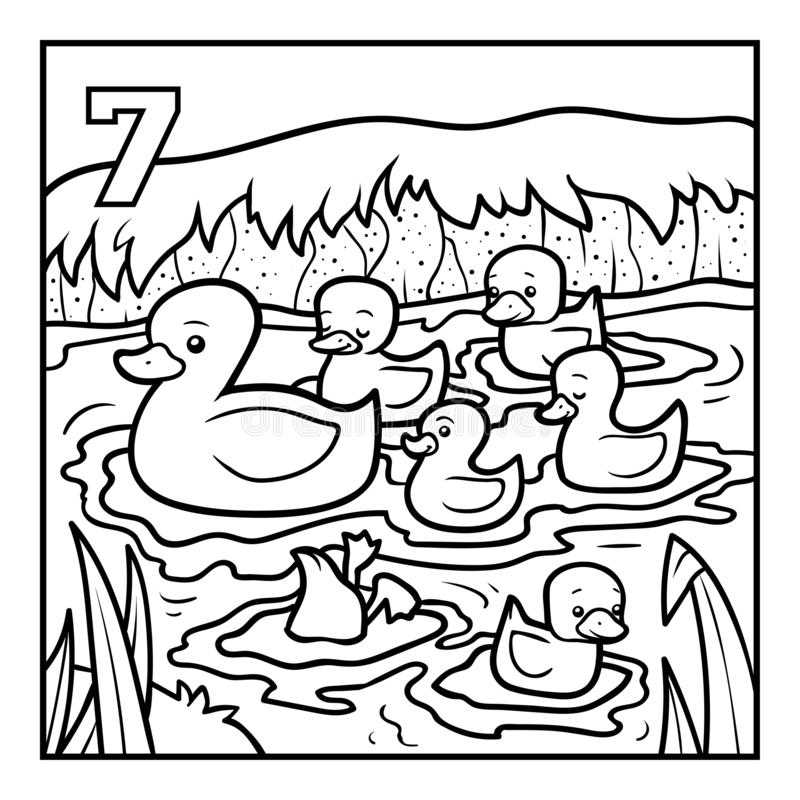 Livre de coloriage, sept canards illustration libre de droits