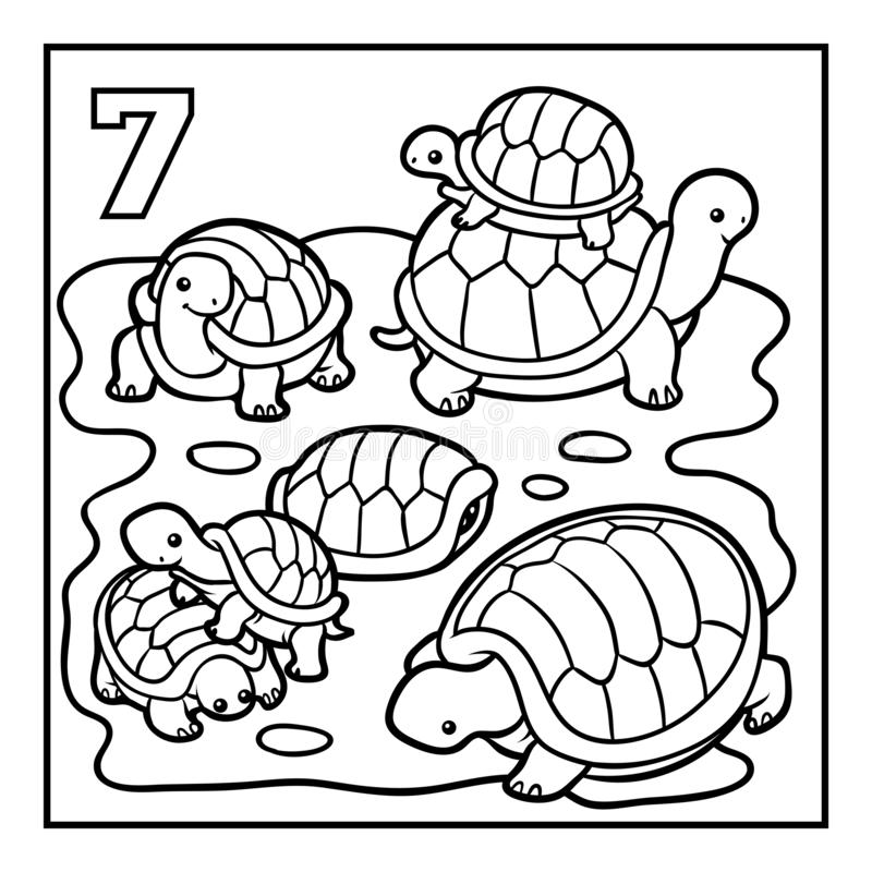 Livre de coloriage, sept tortues illustration libre de droits