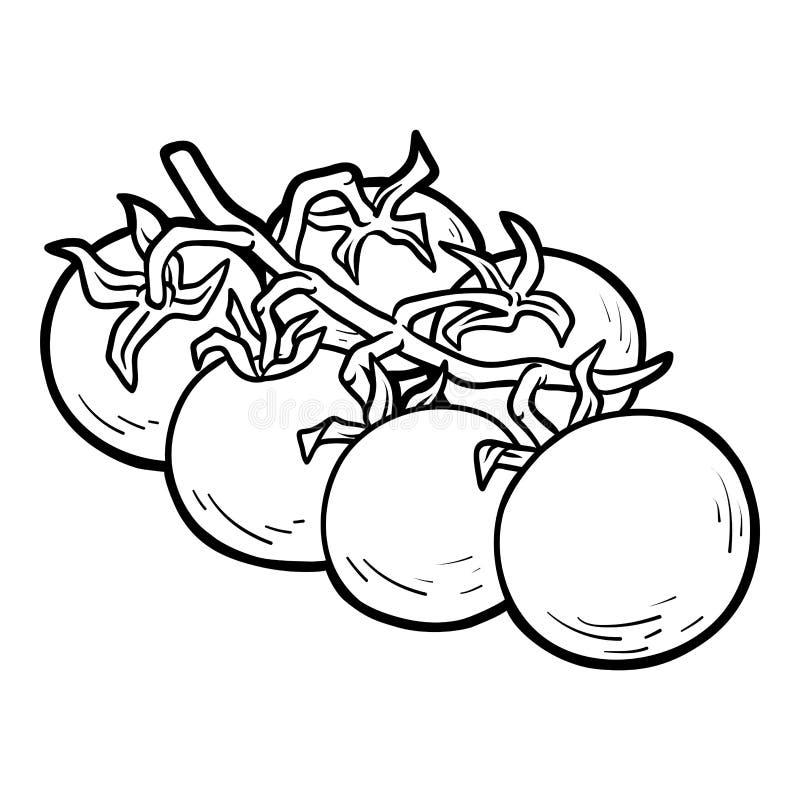Livre de coloriage, tomates-cerises illustration stock