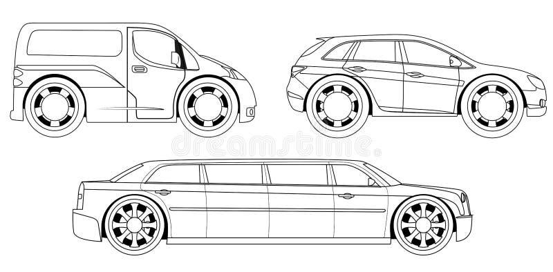 Livre de coloriage : voitures stylisées réglées illustration stock
