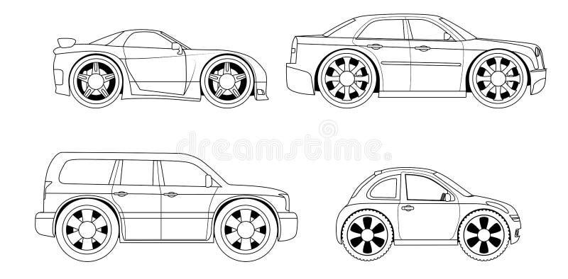 Livre de coloriage : voitures stylisées réglées illustration de vecteur