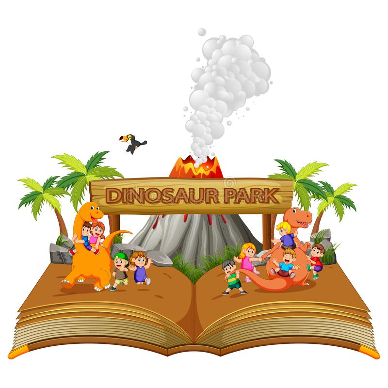 livre de contes des enfants jouant avec le dinosaure illustration de vecteur