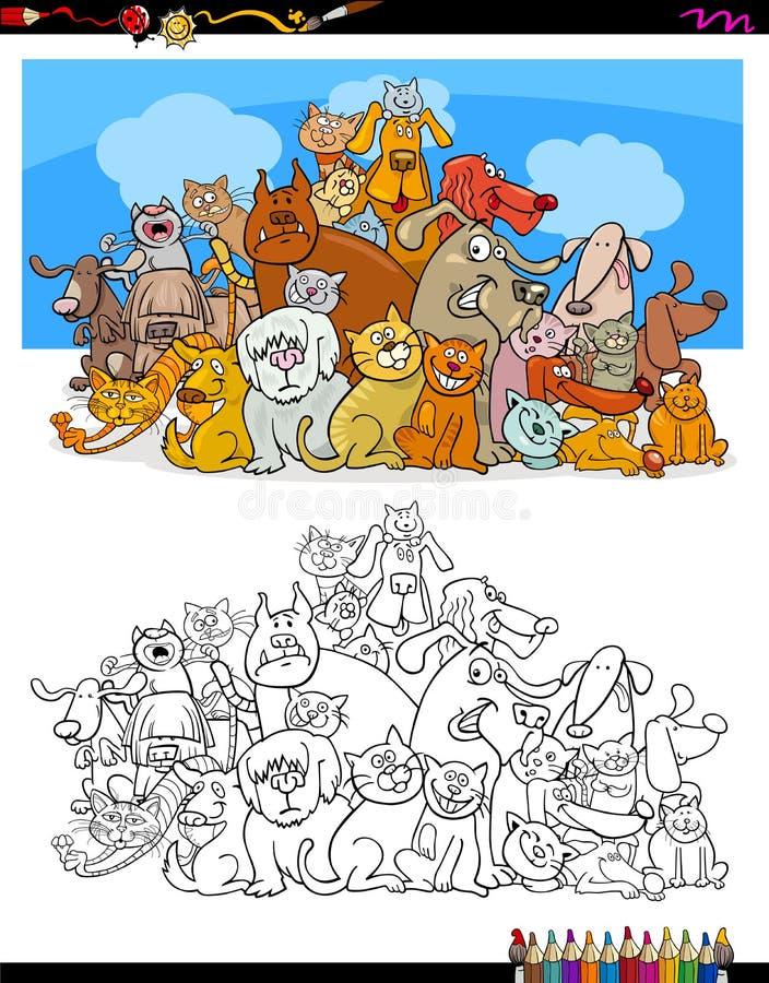 Livre de couleur de caractères de chats et de chiens illustration stock