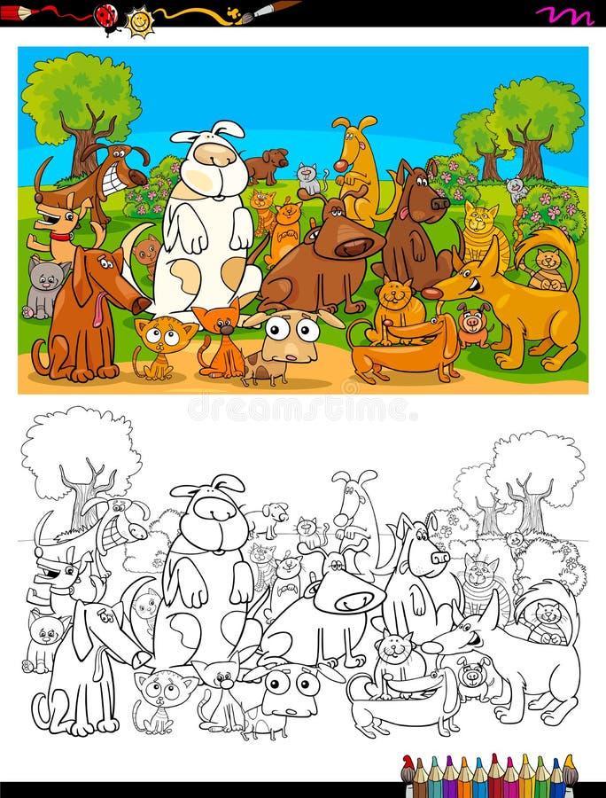 Livre de couleur de groupe de caractères de chiens et de chats illustration de vecteur