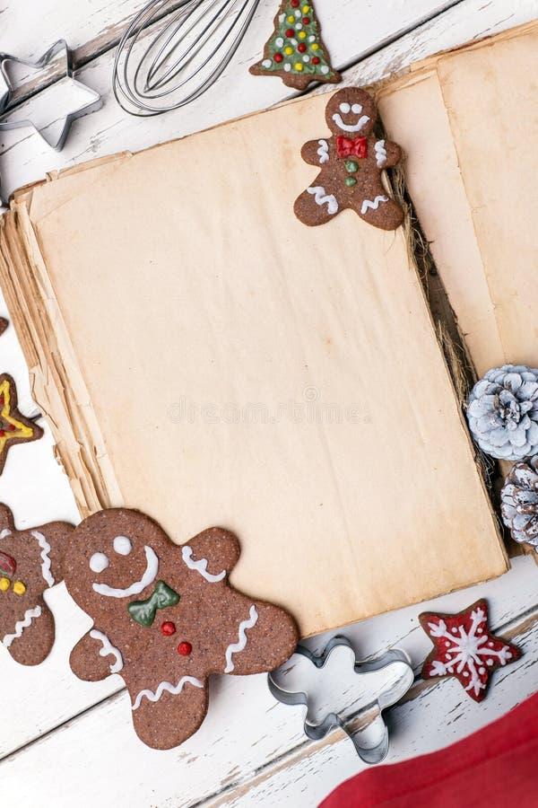 Livre de cuisine de Noël photographie stock