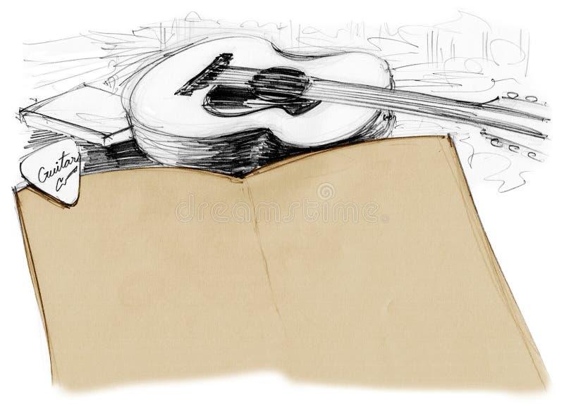 Livre de fond avec la guitare et la sélection illustration stock