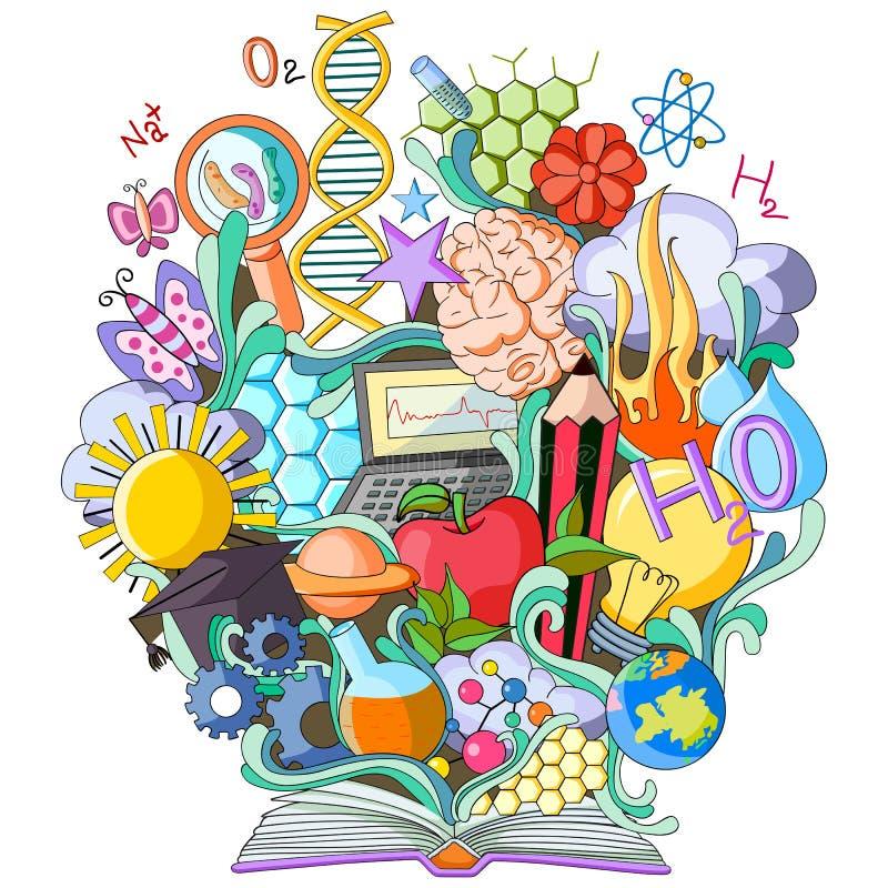Livre de la connaissance pour la Science illustration stock