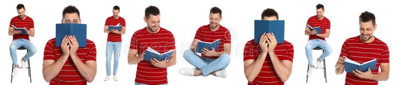 Livre de lecture d'homme supérieur sur le blanc photos stock