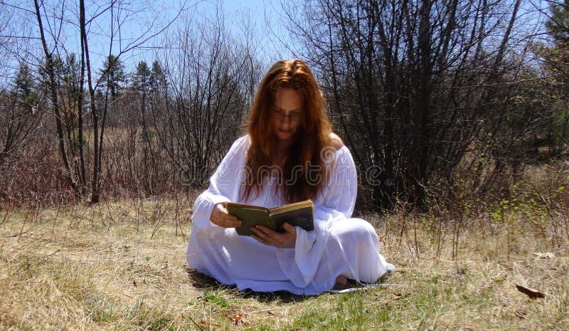 Livre de lecture de femme images stock