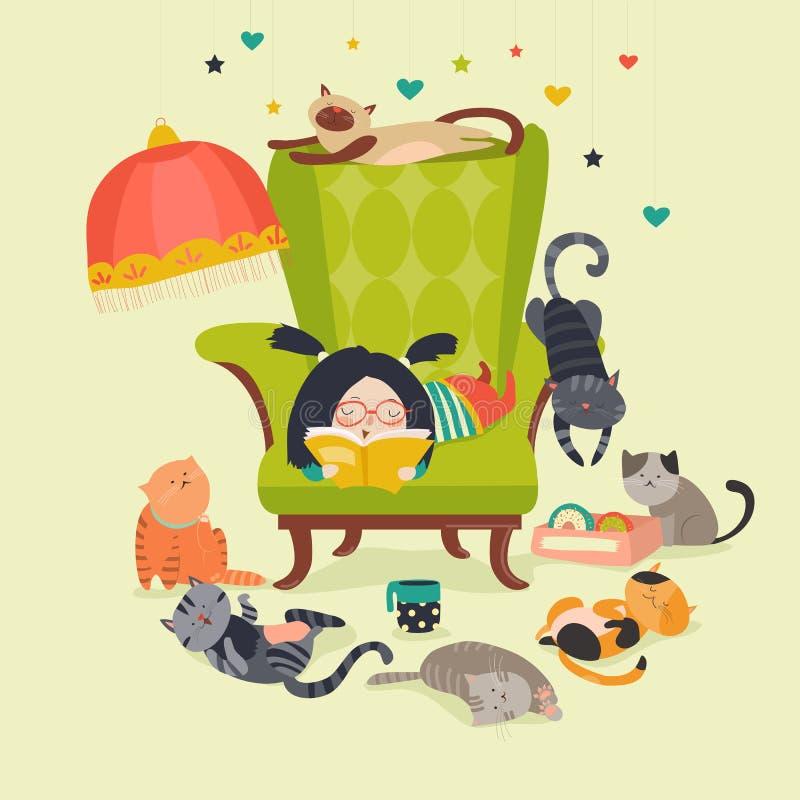 Livre de lecture de fille aux chats illustration libre de droits