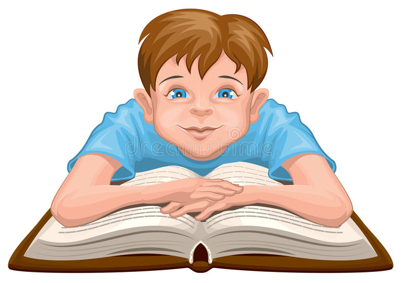 Livre de lecture de garçon L'enfant s'assied devant un livre ouvert illustration libre de droits